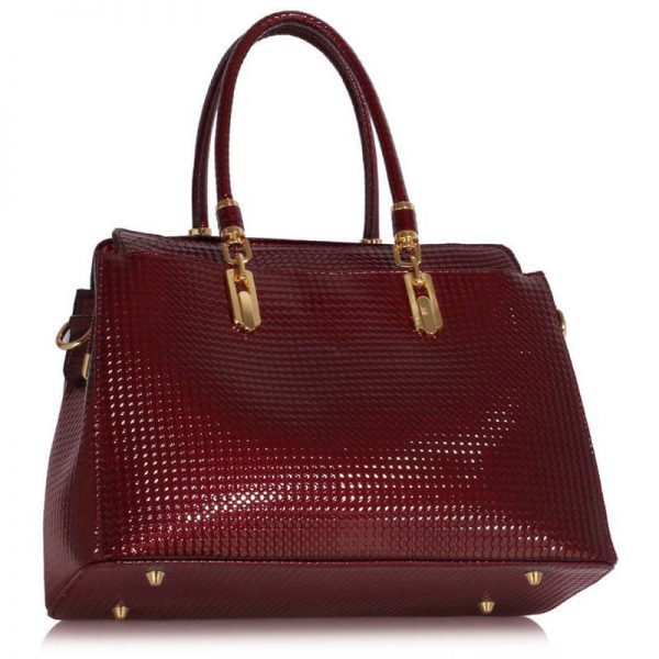 Burgundy Womens Tote Bag With Polished Hardware_(2)