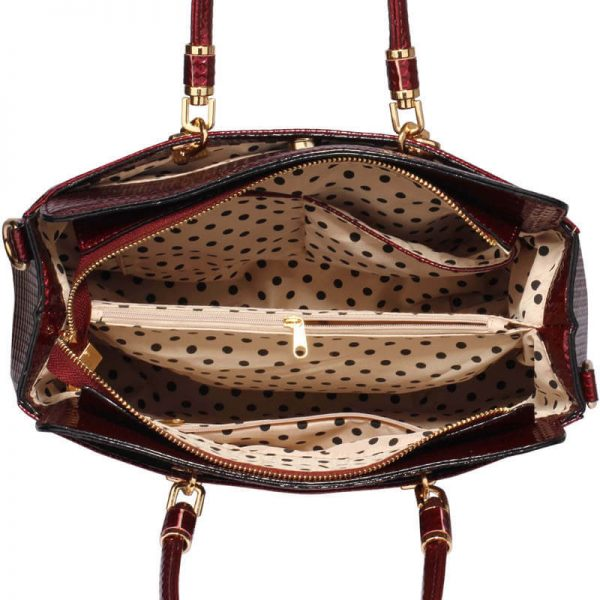 Burgundy Womens Tote Bag With Polished Hardware_(3)