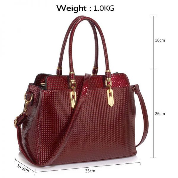 Burgundy Womens Tote Bag With Polished Hardware_(4)