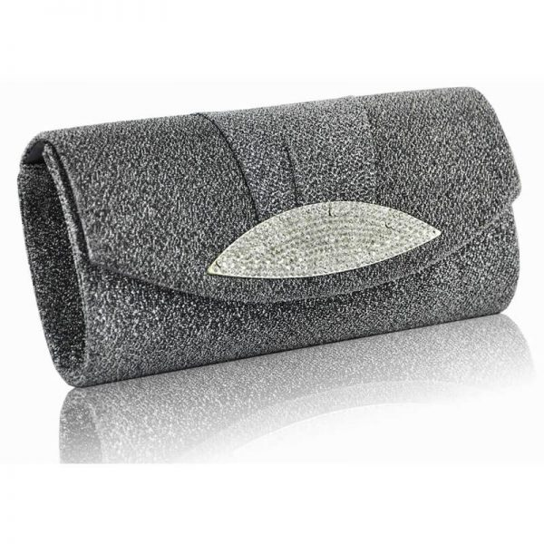 Grey Diamante Evening Clutch Bag – LSE00237-