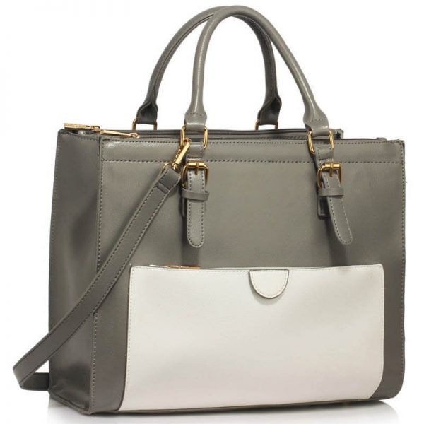 Grey White Front Pocket Grab Tote Handbag