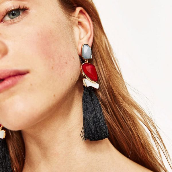 Long Tassel Ear ring – Multi AE79-