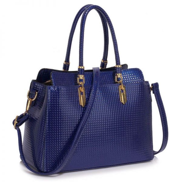 Navy Womens Tote Bag With Polished Hardware_(1)