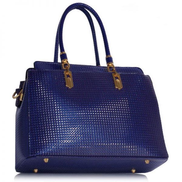 Navy Womens Tote Bag With Polished Hardware_(2)