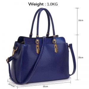 Navy Womens Tote Bag With Polished Hardware