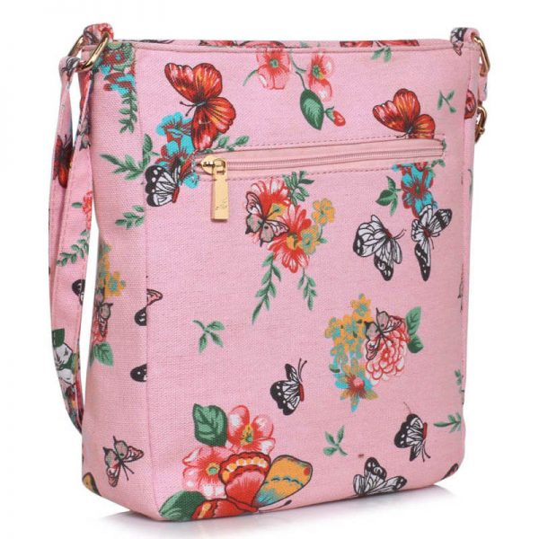 Pink Butterfly Canvas Cross Body Bag – LS00488_(1)