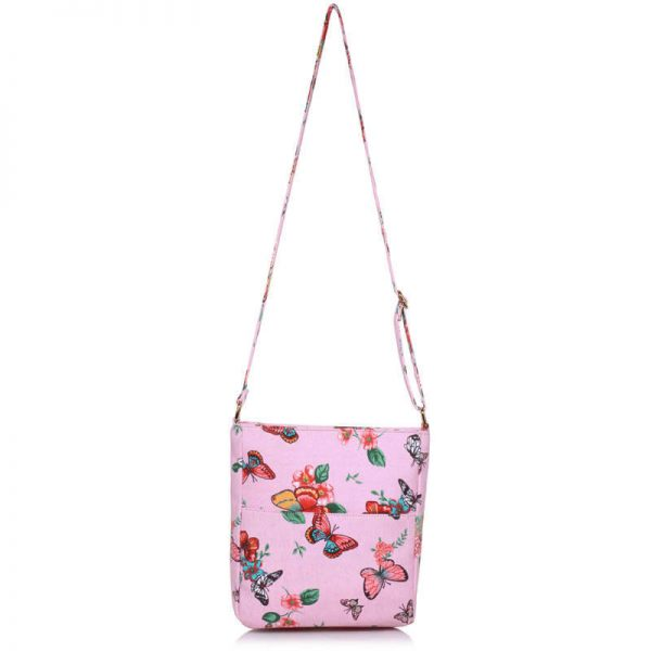 Pink Butterfly Canvas Cross Body Bag – LS00488_(2)