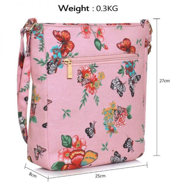 Pink Butterfly Canvas Cross Body Bag – LS00488_(4)