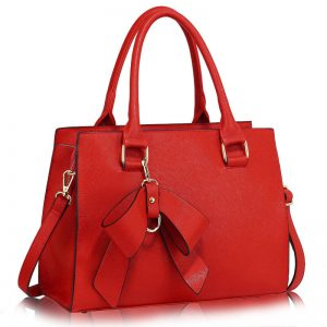 Red Faux Leather Handbag For Women With Bag Charm