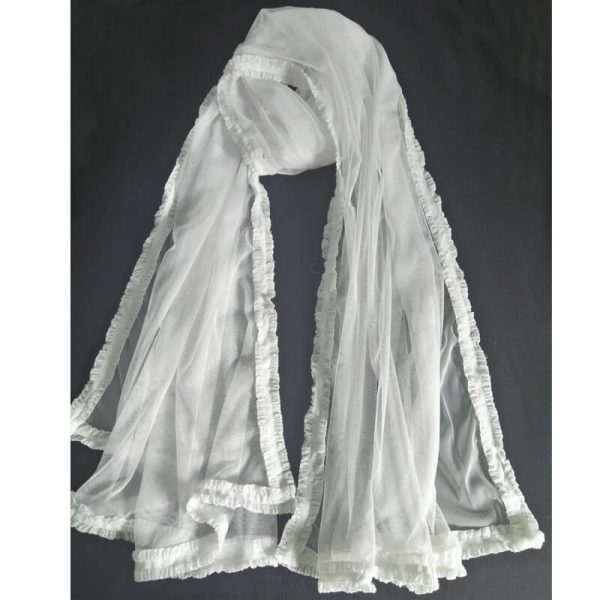 White Net Dupatta With Lace On 4 Sides-