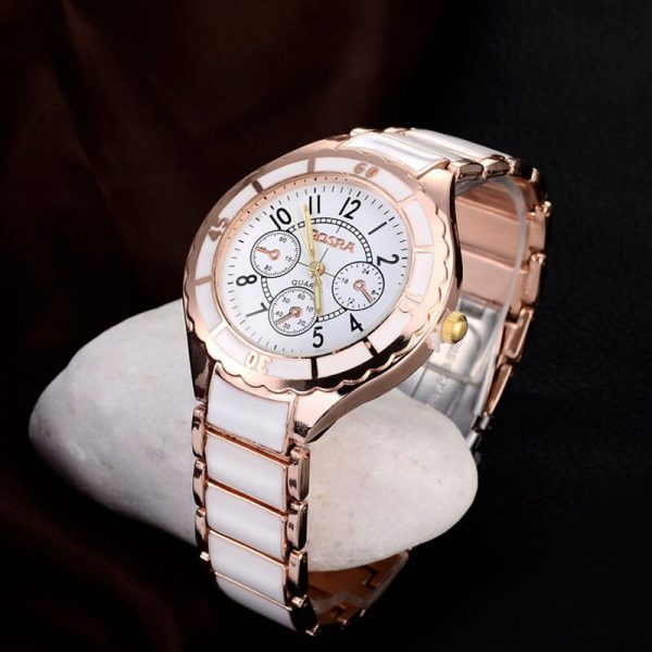 1 AW01 Rose Gold White – Stainless Steel Analog Watch For Ladies
