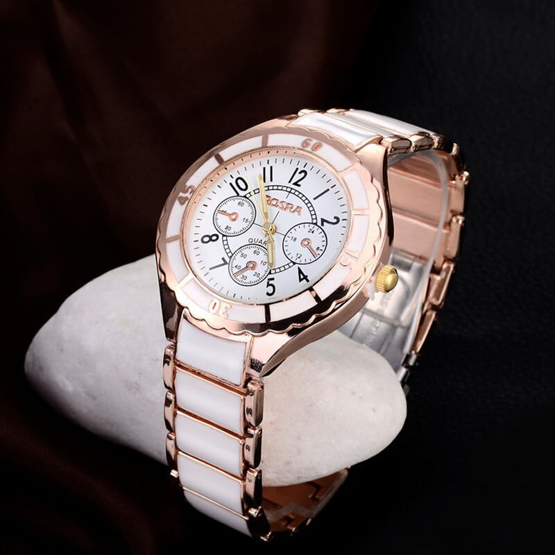 AW01 Rose Gold White - Stainless Steel Analog Watch For Ladies