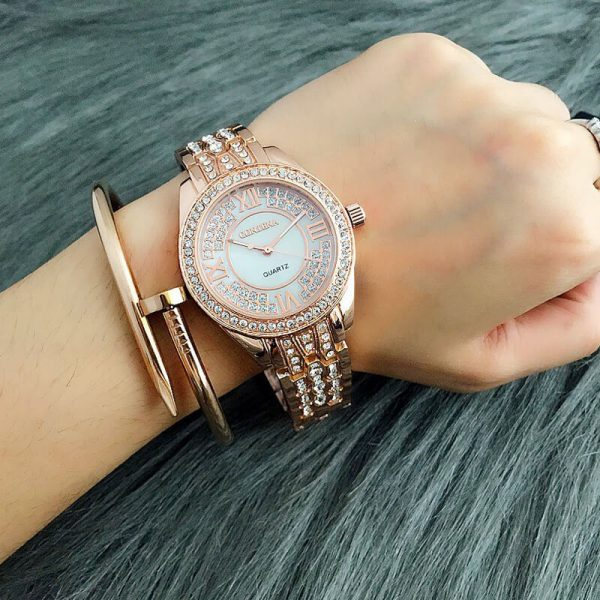 1 AW02 Rose Gold Diamantes Luxury Stainless Steel Watch For Ladies