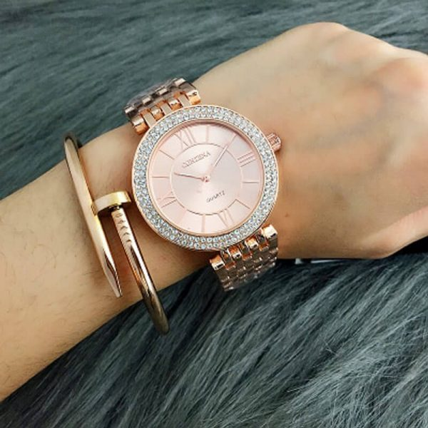 1 AW06 Rose Gold Diamantes Luxury Stainless Steel Watch For Women