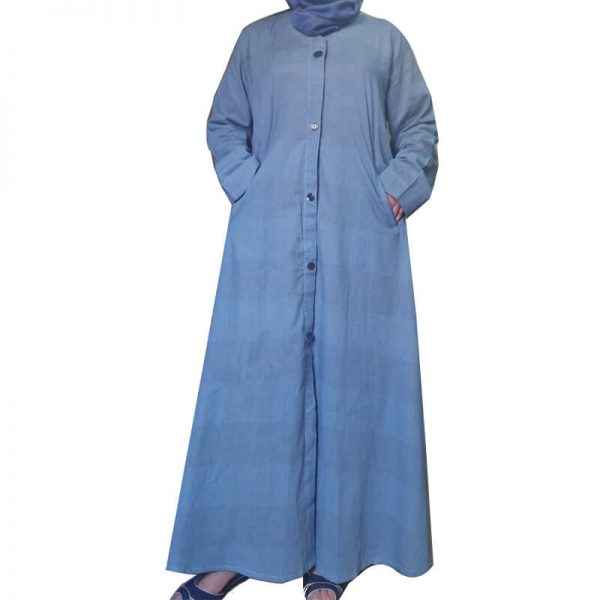 1 Lightweight Blue Soft Abaya With 2 Front Pockets ZA06