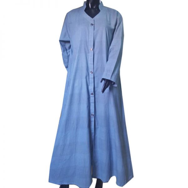 2 Lightweight Blue Soft Abaya With 2 Front Pockets ZA06