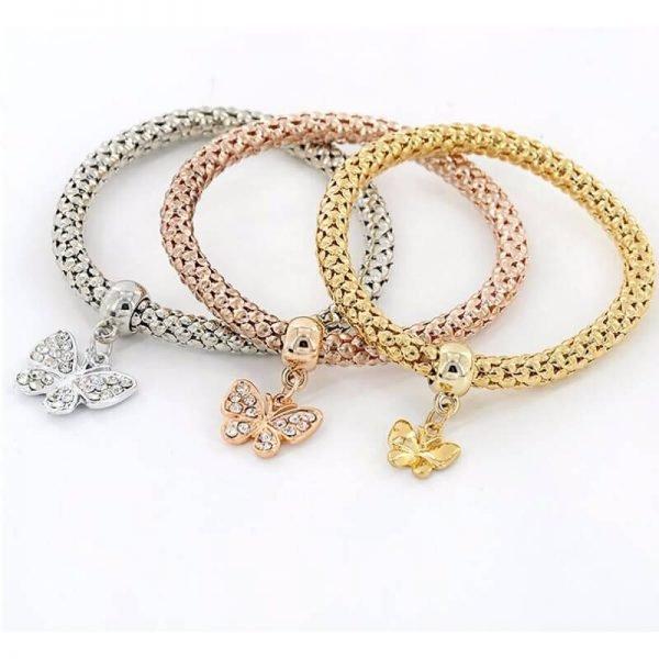 3 Piece Bracelet Set Adjustable – Butterfly Design AB19—2