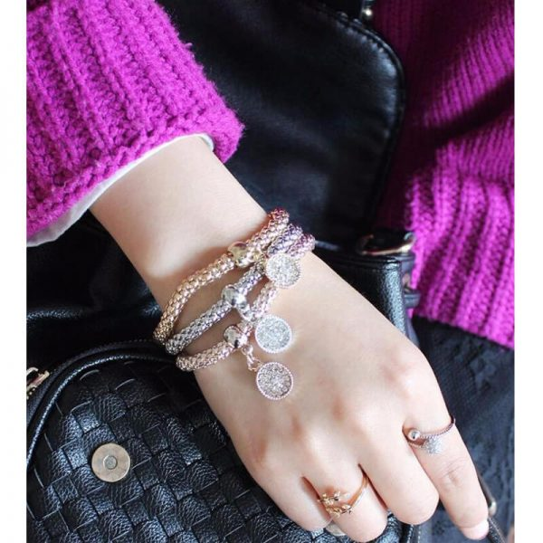 3 Piece Bracelet Set Adjustable – Round Shape AB20 –