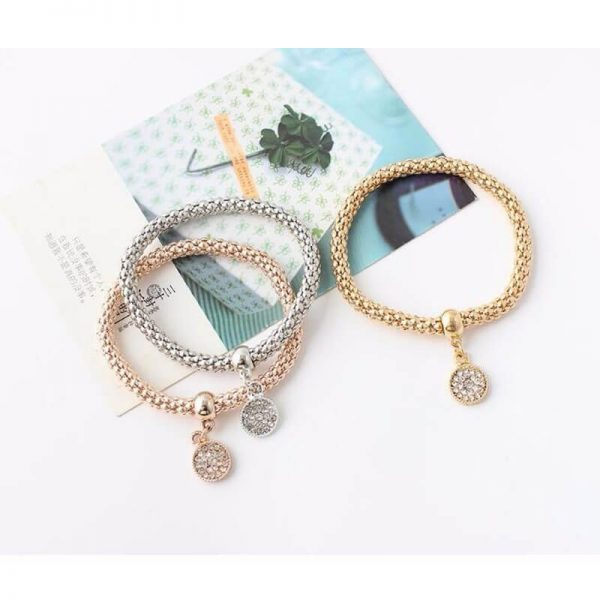 3 Piece Bracelet Set Adjustable – Round Shape AB20–