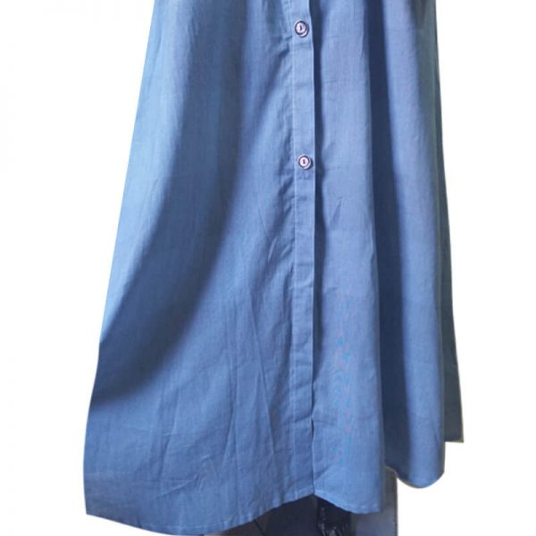 4 Lightweight Blue Soft Abaya With 2 Front Pockets ZA06