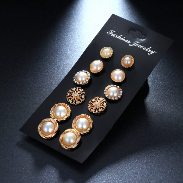 6 Pair Gold earring Set AS40–