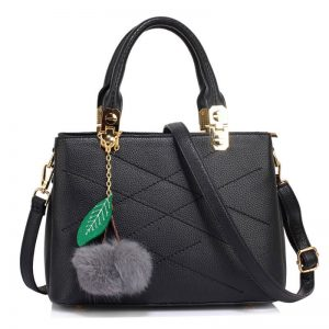 Tote Shoulder Bag With Faux-Fur Charm-BLACK