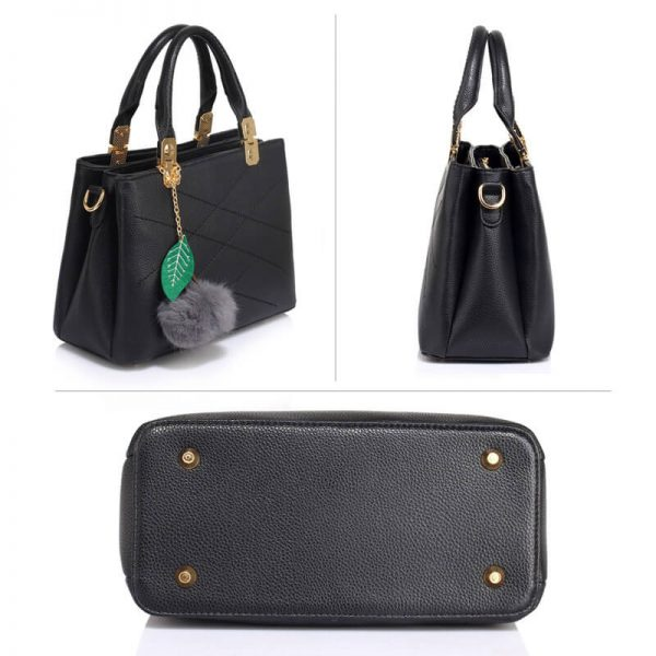 AG00537S – Tote Shoulder Bag With Faux-Fur Charm-BLACK__3_