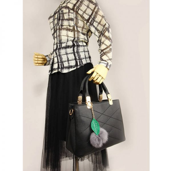 30c419ceecb4 ... AG00537S – Tote Shoulder Bag With Faux-Fur Charm-BLACK5 the latest  f3785 0b181 ...