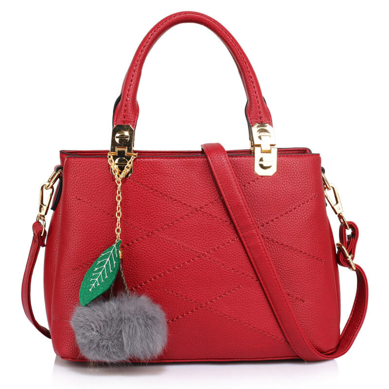 Tote Shoulder Bag With Faux-Fur Charm-BURGUNDY
