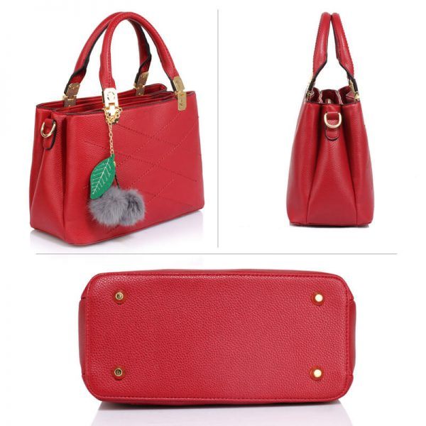 ac7cfdc63086 ... Burgundy Tote Shoulder Bag With Faux-Fur Charm – AG00537S cheap for  discount 6205f e89ac ...