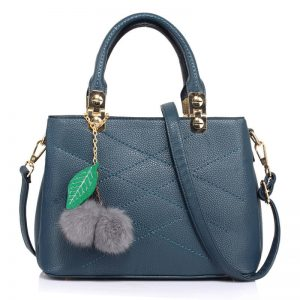 Tote Shoulder Bag With Faux-Fur Charm NAVY