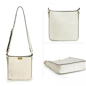 white twist lock cross body bag