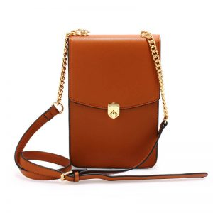 brown_ Flap Twist Lock Cross Body Bag