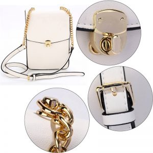 white_ Flap Twist Lock Cross Body Bag