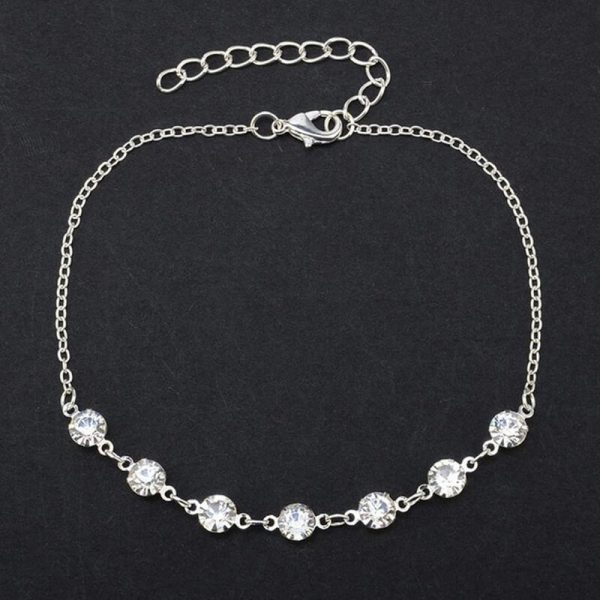 ANK23 Silver Diamante Anklet Adjustable