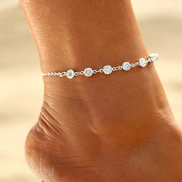 ANK23 Silver Diamante Anklet Adjustable1