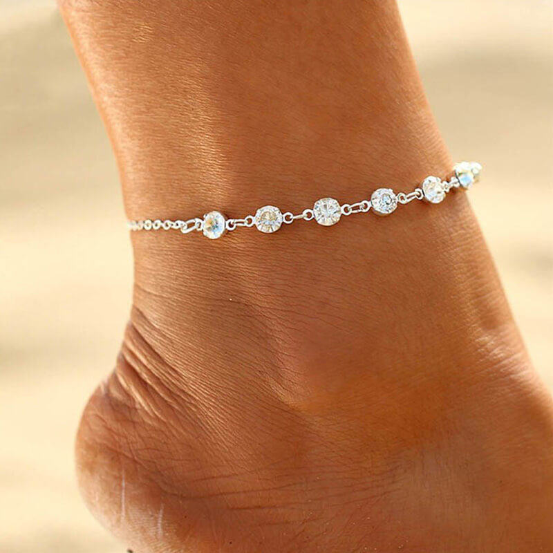Silver Diamante Anklet Adjustable