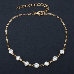 Gold Diamante Anklet Adjustable
