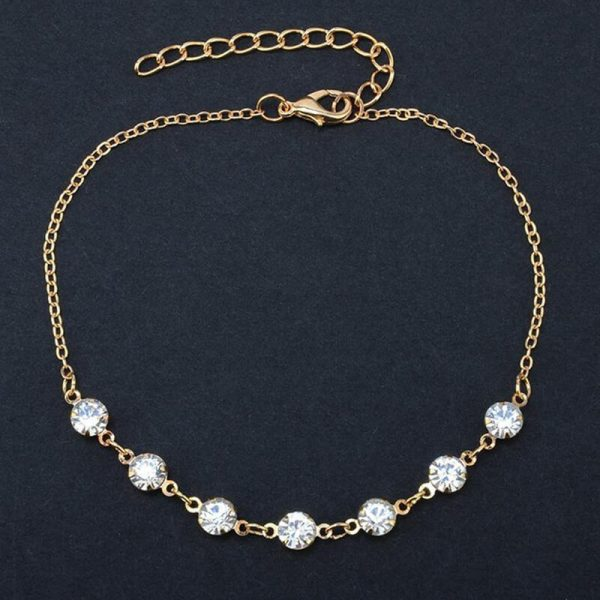 ANK24 Gold Diamante Anklet Adjustable