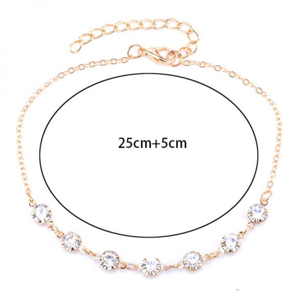 ANK24 Gold Diamante Anklet Adjustable1
