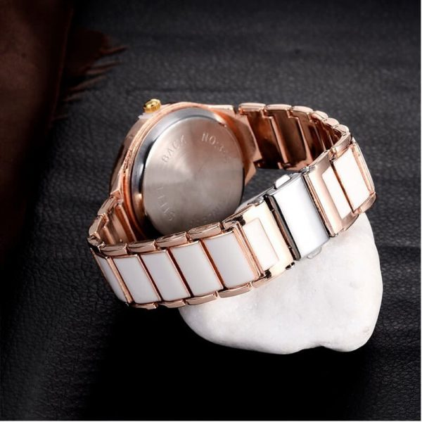 AW01 Rose Gold White – Stainless Steel Analog Watch For Ladies
