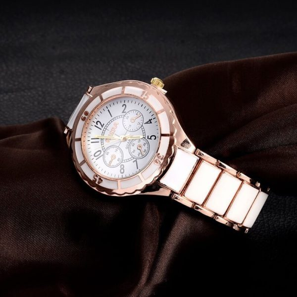 AW01 Rose Gold White – Stainless Steel Analog Watch For Ladies1