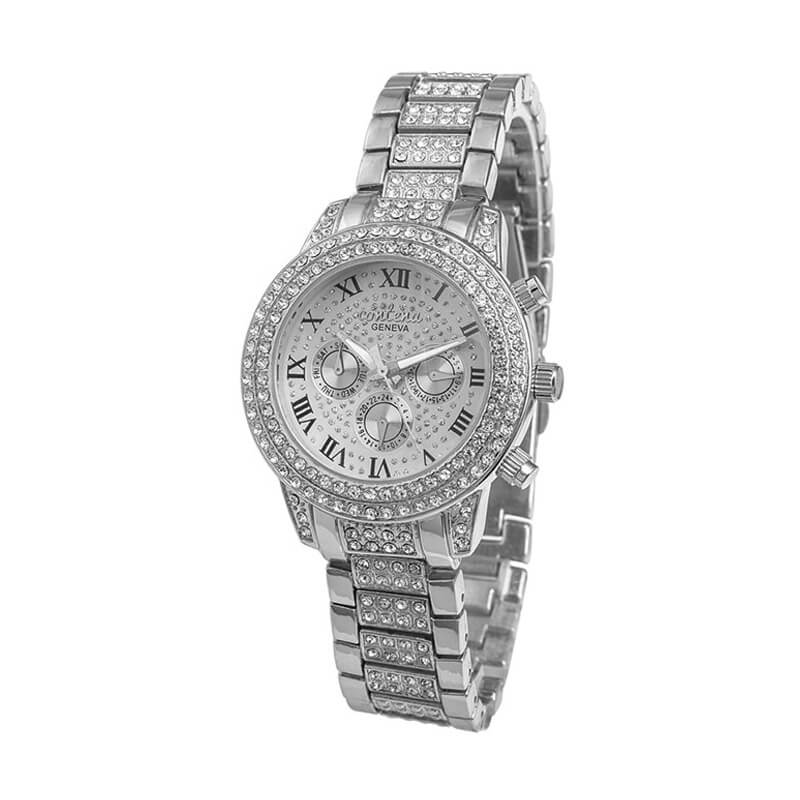 Silver Diamantes Luxury Stainless Steel Watch For Women