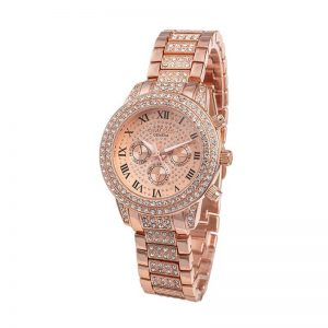 Rose Gold Diamantes Luxury Stainless Steel Watch For Women