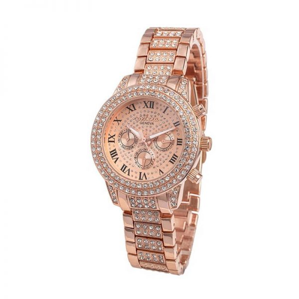AW04 Rose Gold Diamantes Luxury Stainless Steel Watch For Women