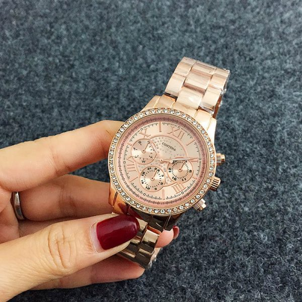 AW07 Rose Gold Diamantes Luxury Stainless Steel Watch For Women-