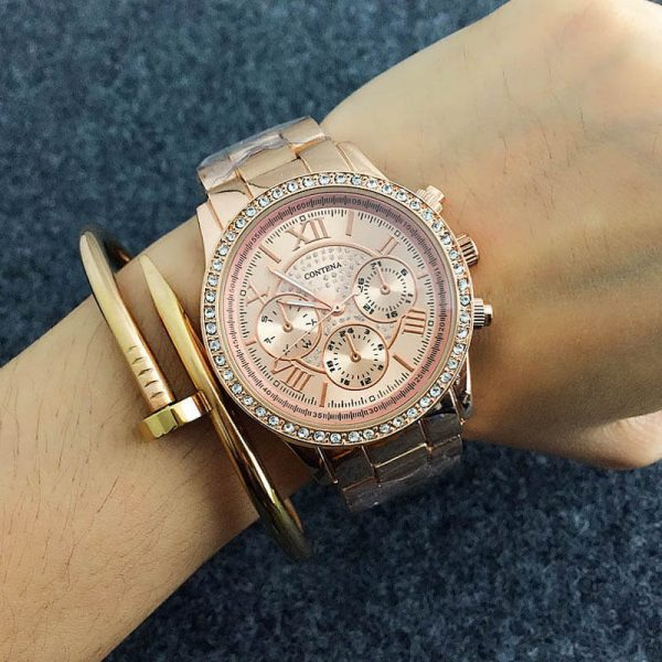 AW07 Rose Gold Diamantes Luxury Stainless Steel Watch For Women