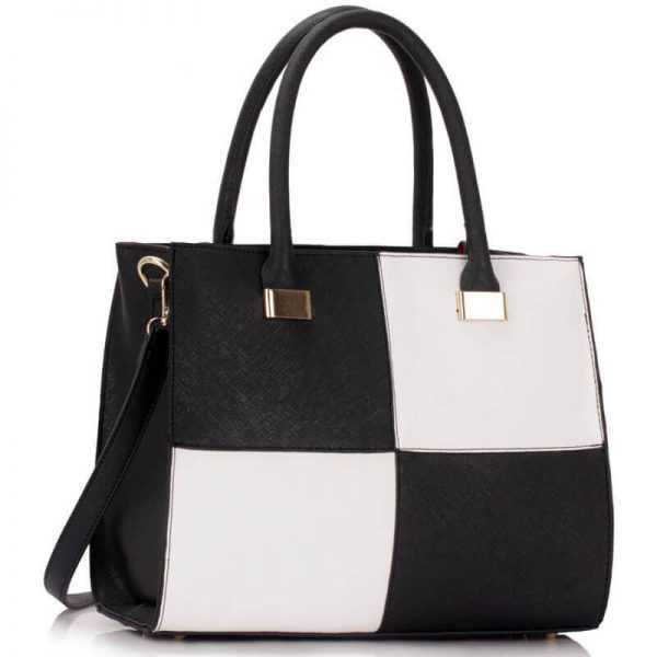 Black white Fashion Tote Handbag – LS00153M_(1)