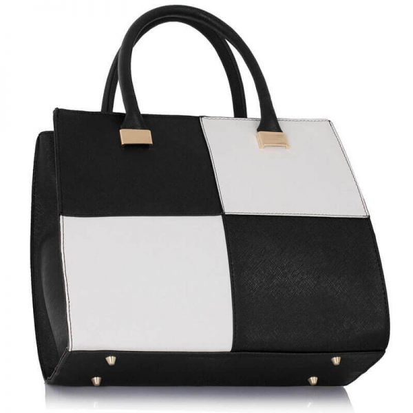 Black white Fashion Tote Handbag – LS00153M_(2)