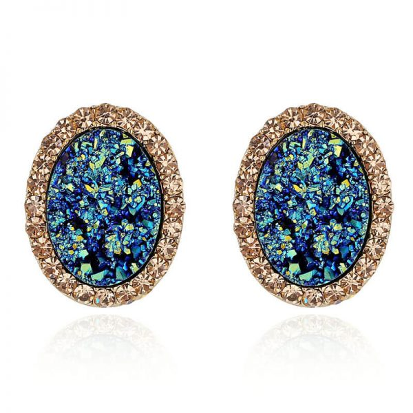 Blue Gold Oval Shaped Earring AE87–